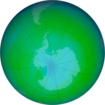 Antarctic ozone map for 1997-12